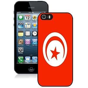 NEW Fashion Custom Designed Cover Case For iPhone 5S Tunisia Flag Black Phone Case