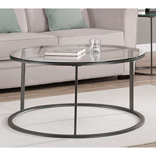 Round Glass Top Metal Coffee Table A Tempered Glass Top And A  Scratch Resistant Powder Coat Finish On The Frame Complete This Stylish Coffee  Table