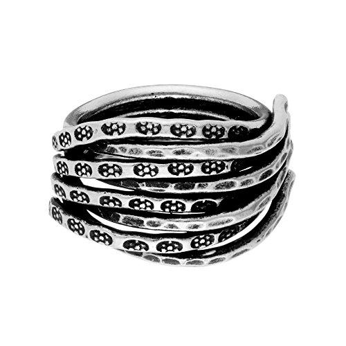 (81stgeneration Women's .999 Fine Silver Karen Hill Tribe Tribal Etched Flower Multi-Row Ring)