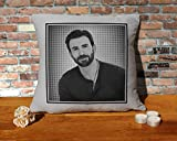 Chris Evans Cushion Pillow - Silver Grey - Pop Art - 100% Cotton - Available with or without filling pad - 40x40cm (Cover and filling pad)