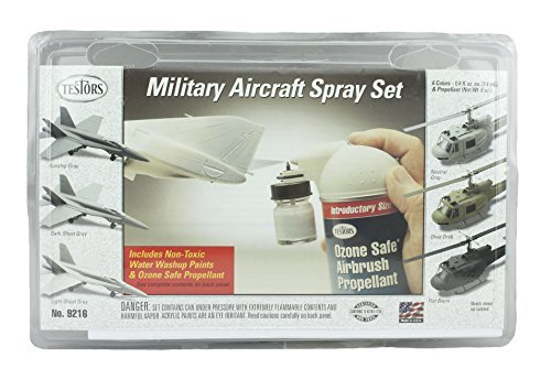 Testors Military Aircraft Spray Set, 6 Colors and Ozone Safe Propellant Kit ()