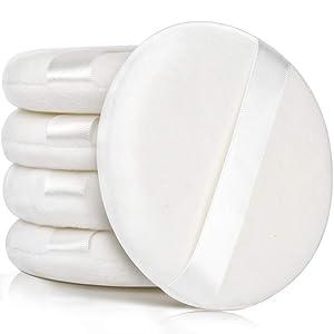 Body Powder Puffs, YGDZ 5pcs Large Powder Puff for Body Powder, 4 Inch Fluffy Loose Bath Puff with Ribbon, White