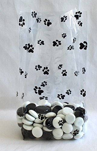 Paw Prints Cello Bags 4'' x 2 1/2'' x 9 1/2'' - Pack of 25 by Magical Times 808
