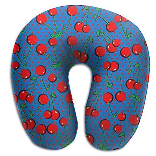 Lesi Yes U-Shape Neck Pillow Memory Foam Soft Cherry Indoor Outdoor Travel Airplane Car Office School