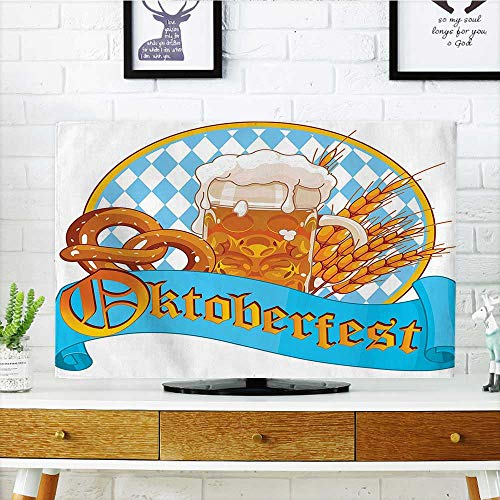 Leighhome Cord Cover for Wall Mounted tv Circle Shape Frame with Beer Pretzel Wheatears German Culture Cover Mounted tv W25 x H45 INCH/TV 47