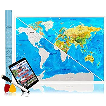 scratch off map of the world poster with us states outlined deluxe detailed cartography great
