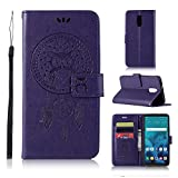 LG Stylo 4 Case, AIIYG DS Classic [Kickstand Feature] Flip Folio Leather Wallet Case with ID and Credit Card Pockets for LG Stylo 4 (Purple Owl)
