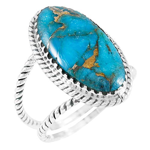 Turquoise Ring Sterling Silver 925 Genuine Gemstones Size 6 to 11 (Teal/Matrix Turquoise) ()
