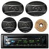 Pioneer DEH-X6900BT Car Bluetooth Radio USB AUX CD Player Receiver - Bundle With 2x TSA1676R 6.5'' 3-Way Car Audio Speakers - 2x 6.5''-6.75'' 4-Way Stereo Speaker + Enrock 50Ft 18 Gauge Speaker Wire
