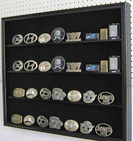 Black Finish Multi-Use Display Shadow Box For Belt Buckles Sports Cards Poker Decks by Display Case