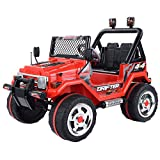 Costzon 12V MP3 Kids Raptor Jeep Truck RC Ride On Car w/ Double Motors & Batteries Red