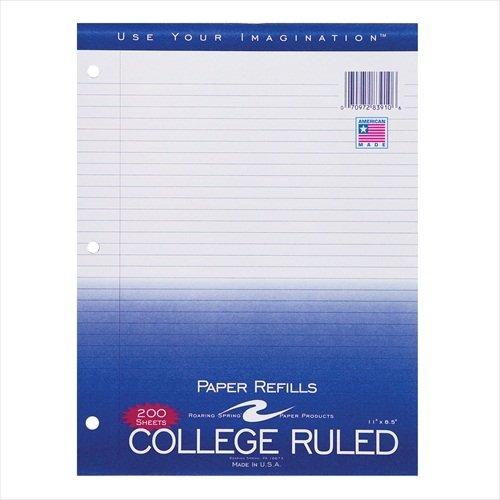 Roaring Spring ROA83910 Regular Filler Paper, College Ruled, 8-1/2'' x 11'', 200 Sheets Per Pack, White, 24 Per Carton by Roaring Spring