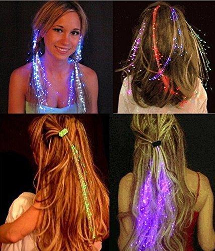 EITC 10pcs/lot Glow Blinking Hair Clip Flash LED Braid Barrettes Show Party Decoration Colorful Luminous Braid Optical Fiber Wire Hairpin