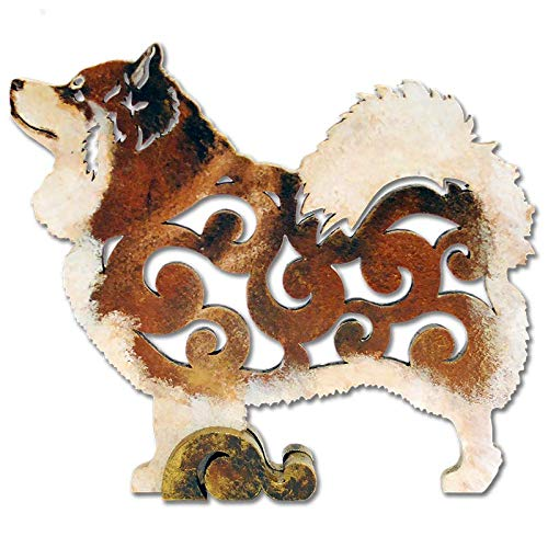 Brown Finnish Lapphund dog figurine, dog statue made of wood (MDF), statuette hand-painted