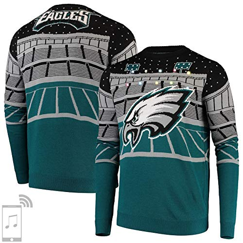Forever Collectibles NFL Philadelphia Eagles Unisex Bluetooth Light Up SweaterBluetooth Light Up Sweater, Teal, X-Large - Philadelphia Eagles Nfl Light