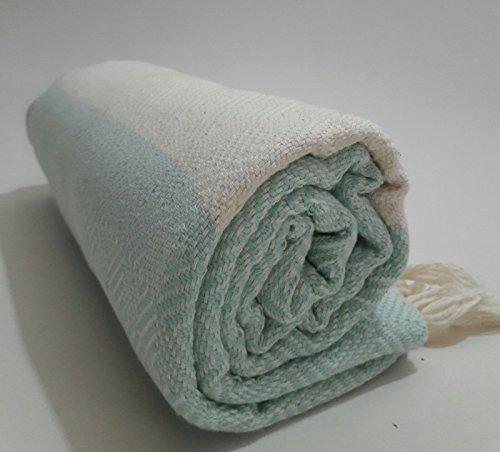 Paramus Turkish Cotton Bath Beach Spa Hammam Yoga Gym Yacht Hamam Towel Wrap Pareo Fouta Throw Peshtemal Pestemal Sheet Blanket by (aqua, 1) by Paramus