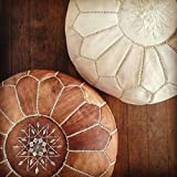 Set of 2 Amazing Moroccan Pouf,Light tan & White Leather,Moroccan Pouffe, Nursery Pouf,Ottomans Footstool,100% Handmade Leather Poof,Ready to Magic Your Living Room!