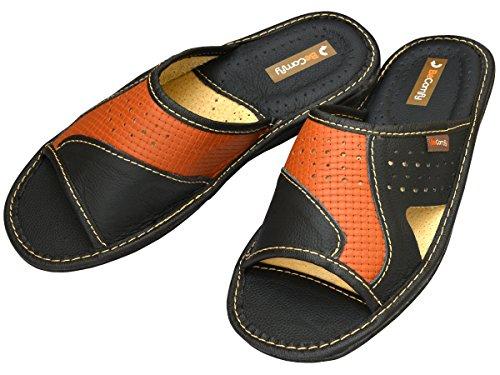 BeComfy - Zapatillas de estar por casa de Piel para hombre marrón y negro
