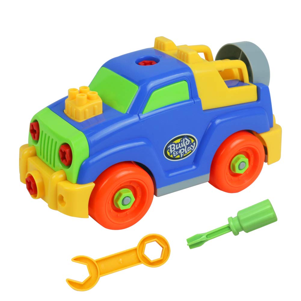 yoptote Take Apart Toys Stem Learning Building Car Set Assembly Jeep Race Vehicles with Constructional Tools Gifts for Kids Boys and Girls Age 3 4 5 6 7 Yixin