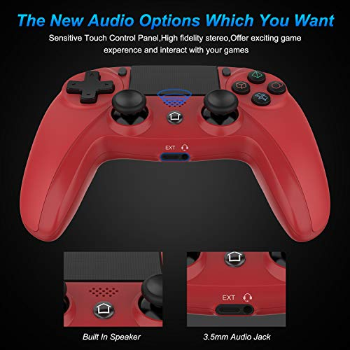 Medvoe Wireless Game Controller for PS4, Built-in Speaker/Gyro/Motor Joystick Remote Gamepad for Playstation 4/Slim/Pro Console - Magma Red