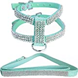 WwWSuppliers Extra Small Turquoise Teal PU Leather Crocodile Crystal Rhinestones Bling Pet Adjustable Dog Puppy Cat Kitten Harness with Amazing Sparkling Diamonds and Leash Lead XS Fashion Combo Set