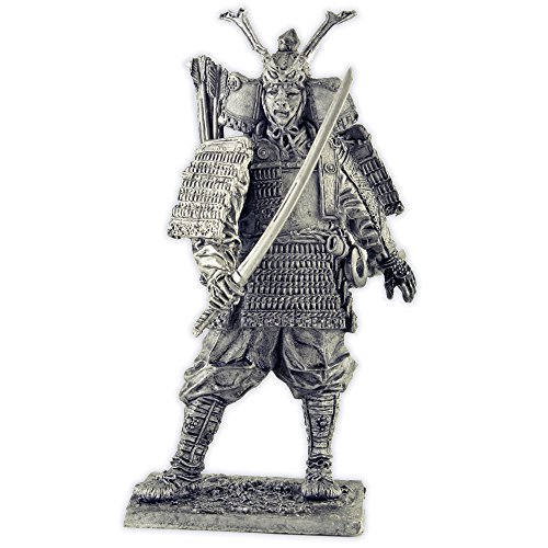 Japanese samurai 12th century, metal sculpture. Collection 54mm (scale 1/32) miniature figurine. Tin toy soldiers