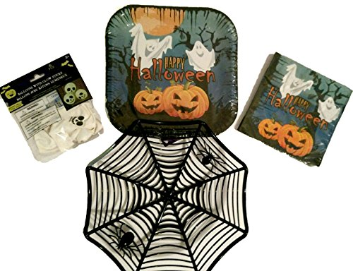 Halloween Plates, Napkins, Glow in the Dark Balloons, and Spider Web Basket - Party Supply Pack - (31 Piece Bundle Serves 8 ) (Halloween Makeup Web)