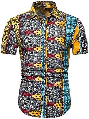 QZH.DUAO Mens Floral Short Sleeve Shirt
