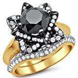 Smjewels 3.35 Ct Round Black Sim.Diamond Lotus Flower Engagement Ring Set 14K Yellow Gold Fn
