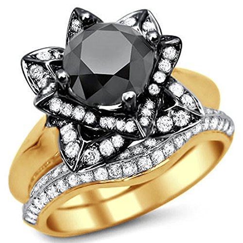 Smjewels 3.35 Ct Round Black Sim.Diamond Lotus Flower Engagement Ring Set 14K Yellow Gold Fn by Smjewels