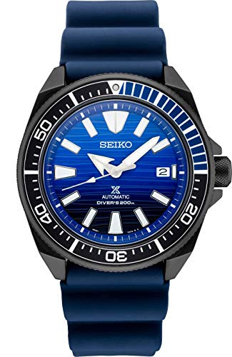 Black Patterned Dial Watch - Seiko Prospex SRPD09 Special Edition Blue Silicone Automatic Divers Watch