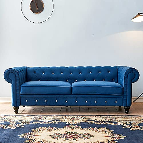 Sofa Couch Traditional Loveseat Sofa with Three Person Seat,Upholstered Button Tufted Chesterfield Velvet Sofa with Scroll Arms for Living Room Furniture Set,80″ 30″ 28.15″,Blue