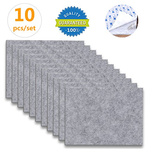 "Furniture Pads - 10 Pack ON'H Self-Stick Felt Furniture Pads with 3M Tapes Hardwood Floors Protectors – 8"" x 6"" x 1/5"" Sheet Cut into Any Shape – Grey (Grey Pad)"