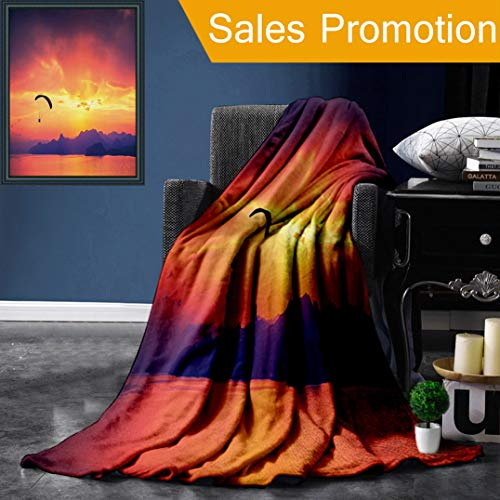 Unique Custom Flannel Blankets Sports Decor Paragliding Silhouette Over Sea at Sunset with Reflection of Sun Light Epic NAT Super Soft Blanketry for Bed Couch, Throw Blanket 50