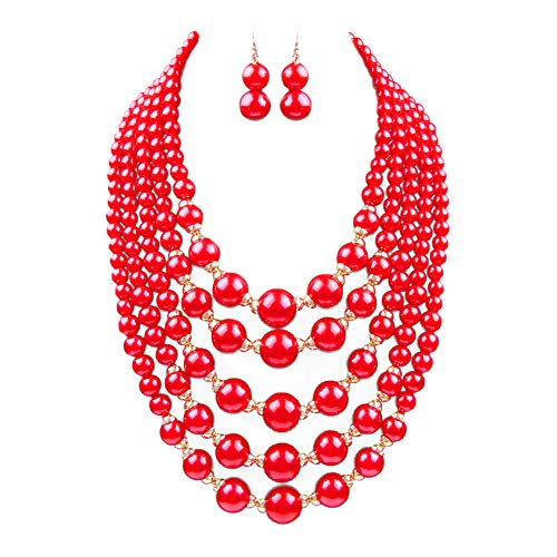 Yuhuan Women Elegant Jewelry Set White Pearl Bead Cluster Collar Bib Choker Necklace and Earrings Suit(Red)