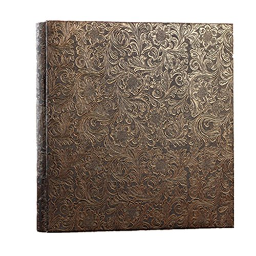 Aster Black Leather (Leather Cover Photo Album Perfect as Wedding Guest Book/Anniversary Gift (Golden aster))