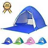 BATTOP Automatic Pop Up Beach Tent Sun Shelter Cabana 2-3 Person UV Protection Beach Shade for Outdoor Activities (DarkBlue)