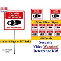 "Security Sign & Security Decal - #203 1 Video CCTV Security Surveillance Camera System Warning Sign & Decal Sticker Kit– Commercial Grade 1 on 36"" Aluminum Stake with Safety Cap, 2 Gate Signs & 8 Decals."