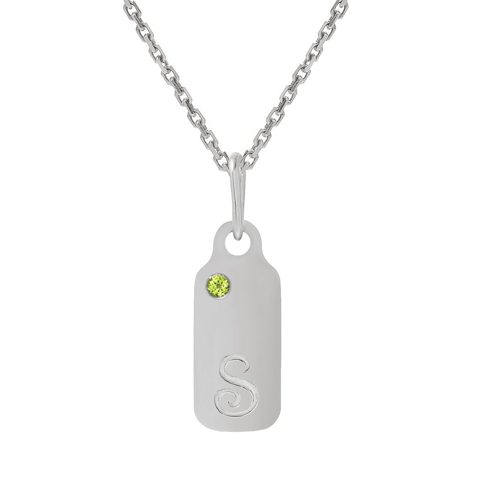 14k Gold Peridot August Birthstone Cursive Letter S Dog-tag Necklace