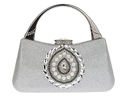 Purse Ankoee Clutch Party Silver Handbag Evening Rhinestone Prom Ladie Bag qrrEaXvw