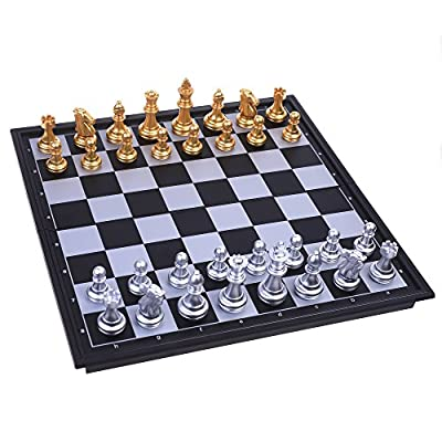 COSMOS Travel Folding Magnetic Chess Set, Folable Board with Magnetic Chess