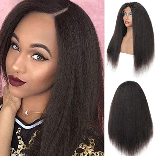 Xtrend 150% Density Yaki Straight 13x6 Lace Front Wigs Brazilian Virgin Human Hair Wig Natural Black Color Italian Kinky Transparent Frontal Lace Wig for Black Women 18 Inches