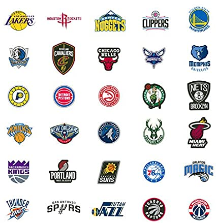 Amazon Com 30 Nba Stickers Basketball Team Logo Complete Set All 30 Teams Die Cut Lakers Bulls Heat Warriors Celtics Cavaliers Thunder Spurs Knicks Mavericks Clippers Rockets Pacers Nets Magic Timberwolves