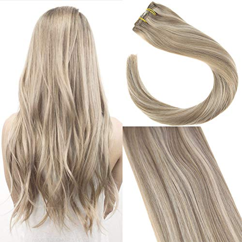 Sunny 7 Pcs 120g 24 inch #16 Ash Blonde Mixed #22 Medium Blonde Highlighted Seamless Clip in Hair Extensions Remy Human Hair Extensions Blonde ()