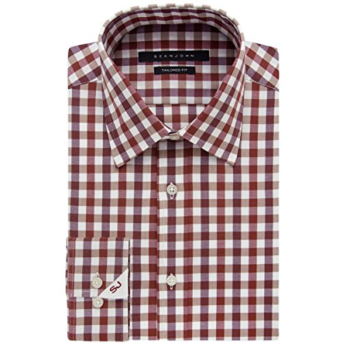 Sean John Tailored Dress Shirt (Sean John Men's Tailored Fit Gingham Shirt, Cinnamon, 17.5