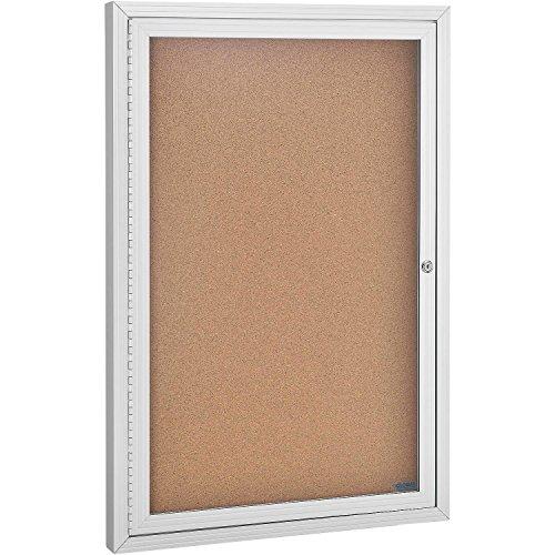 Enclosed Bulletin Board - Cork - Aluminum Frame - 24'' x 36'' - 1 Door by Global Industrial