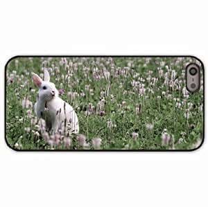 iPhone 5 5S Black Hardshell Case rabbit grass flowers Desin Images Protector Back Cover