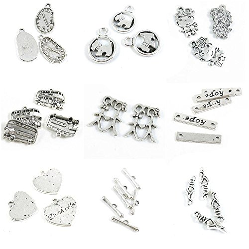 33 PCS Jewelry Making Charms Ballet Shoes Bracelet Clasps Drink Me Love Heart Hope Tag Connector Lover ()