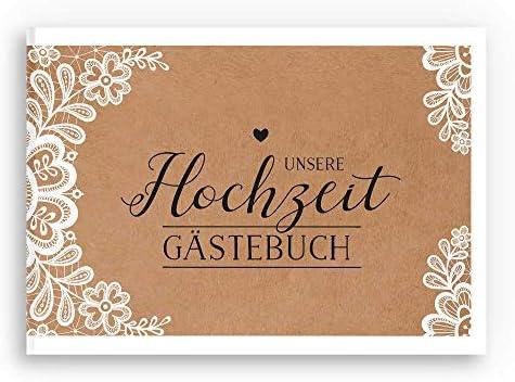 A5 Gästebuch aus Holz Hochzeit Geburtstag Liebe dekoriert 100 Seiten