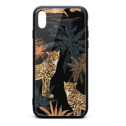 Tropical Marine Leopard Palms Abstract Phone Case for iPhone X/XSTPU Protective Best Anti-Scratch Fashionable Glossy Anti Slip Thin Shockproof Soft Case